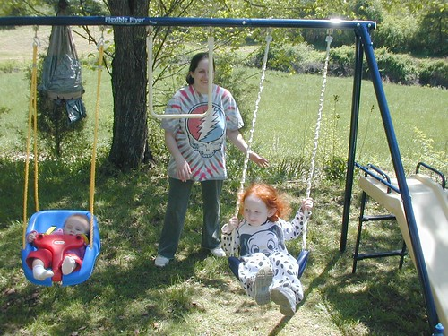 Ivy, Amanda, & Eden enjoying the new playset