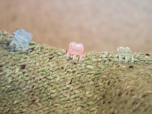 Using hairclips to tack pieces together for seaming
