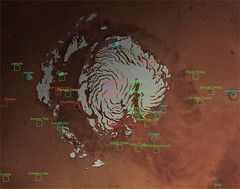 Mars North Pole with Labels