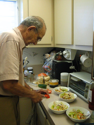 Papa makes salad