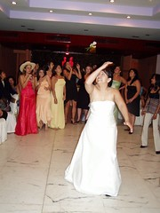 Perla's First attempt of throwing the bouquet