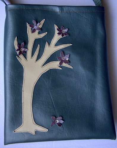 vinyl tree blossom purse