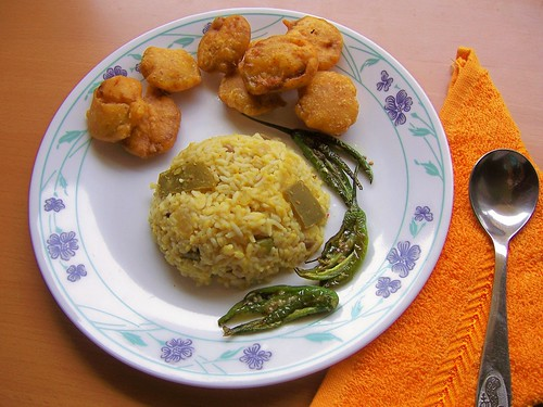 Mamidikaya Pappu Rice with Fried & Salted Green Chillies,Beerakaya Bajji