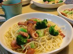 Spaghetti Aglio, Olio e Peperoncino, Broccoli-Bacon