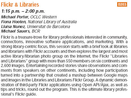 Flickr & Libraries at the Internet Librarian 2006 Conference