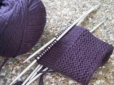 Starting garter-cuff mittens from Weekend Knitting