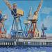 Govan cranes, Gouache on board, 33x25cm