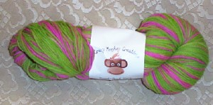 pinkgreen crazy monkey yarn