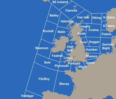 UK shipping forecast map