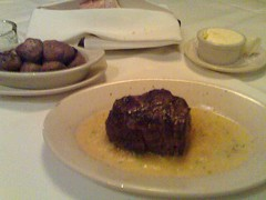 An 8 oz filet and sauteed mushrooms