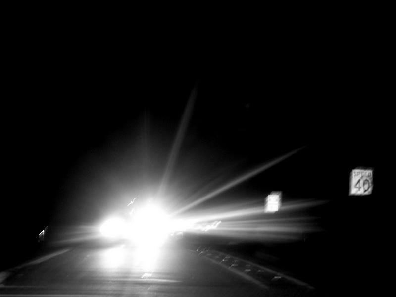 Bright Headlights At 40 At Night