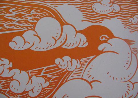 orange bird print