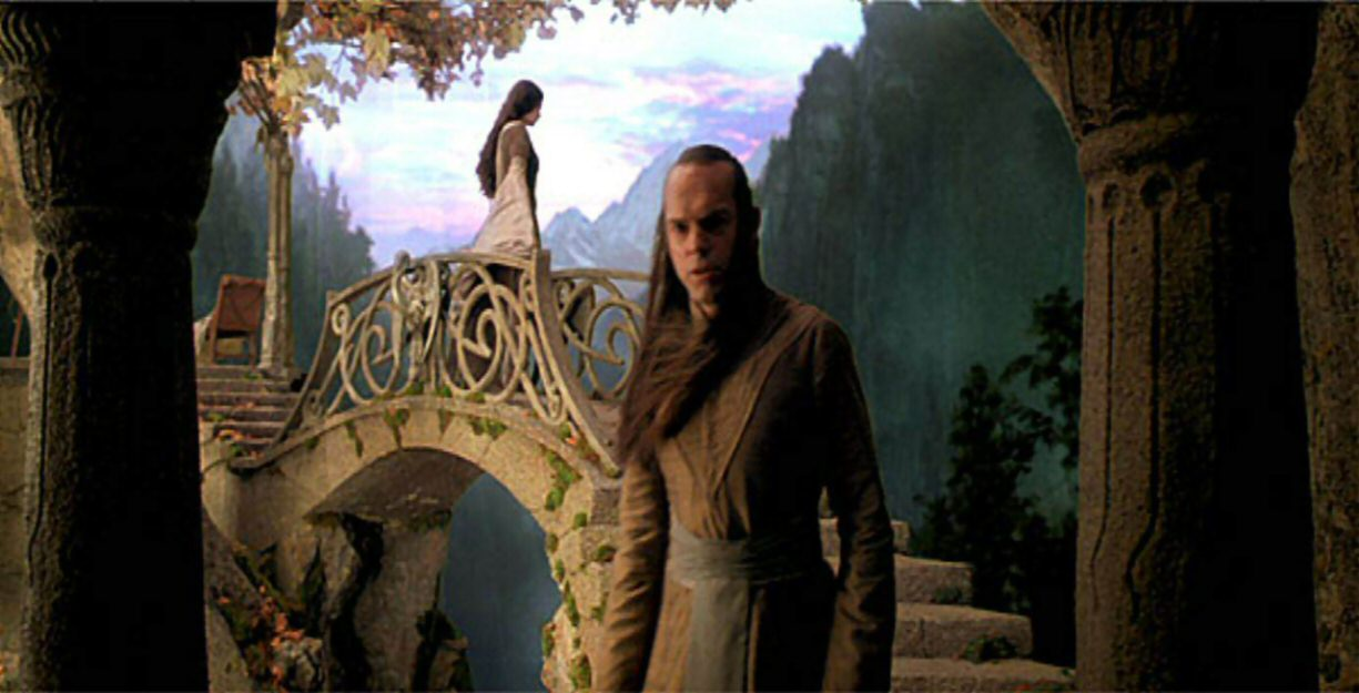 Arwen and Elrond in the bridge