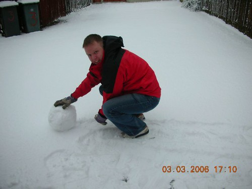 Rolling a snowman