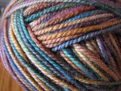 macro of painted yarn, golden plums
