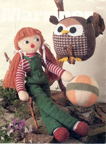 Vintage knitted doll, ball, owl