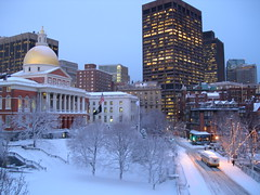Massachusetts State House just after a snowstorm