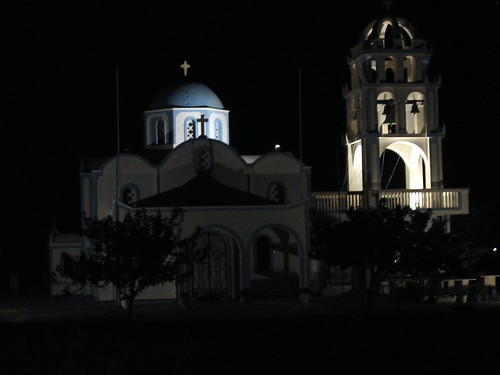 Greek Orthodox church by night, Santorini