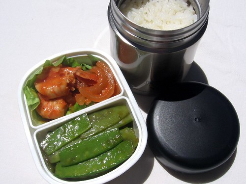 Shrimp and snow peas lunch