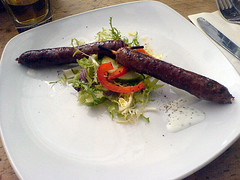 Spicy sausages at Edinburgh's Maison Bleue