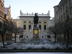 Goethe statue at Naschmarkt, Leipzig