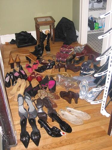 reorganizing the shoe rack: bad idea