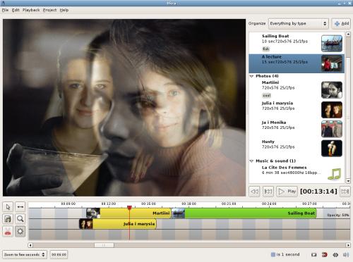Okno Divy - edytora video dla Gnome