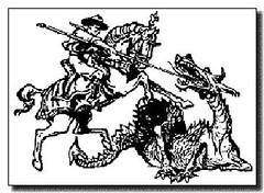 Baden-Powells tegning af Skt. J�rgen (Saint George) og dragen