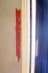 paint stripped from door