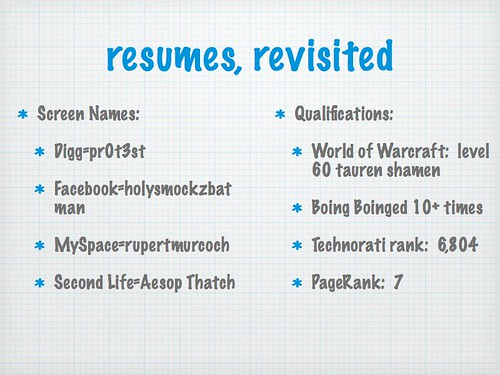 resumes, revisited