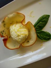 Lemon Parfait in Basil Tuile Cups