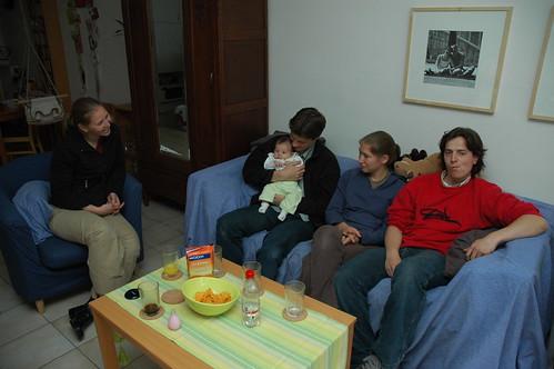 Katrien, Toon, Anneke en Daan met Fien
