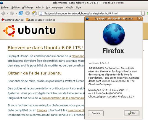 Firefox 1.5.0.4 pour Ubuntu Linux.