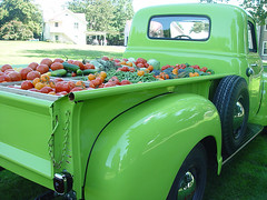Burpee truck full of vegetables at Fordhook farm photo by Burpee Gardens