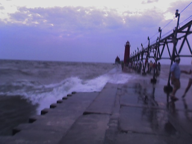 looking up the grand haven pier, heavy seas 1