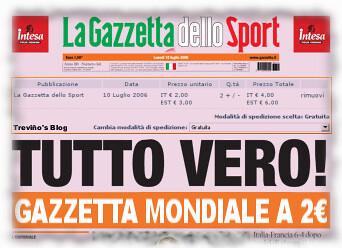 Gazzetta dello Sport dei Mondiali a 2 euro
