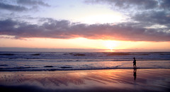 Lincoln City beach at sunset