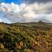 Le nuvole ricoprono il cielo sopra a Rocca d'Orcia