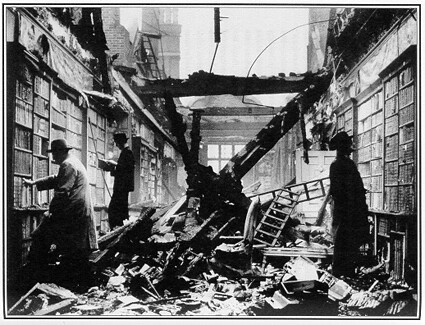 Library after air raid London 1940