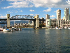 Burrard bridge o'er False Creek from Granville island Market