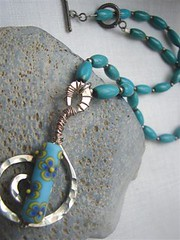 Barrel Turquoise and Hammered Swirl w/ lampwork