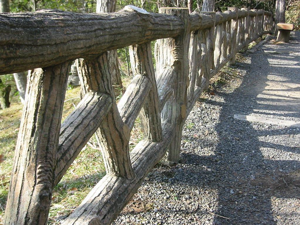 A wooden railing
