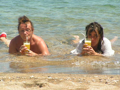 me and mam and juice and arak and sun and ocean