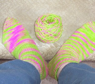 First pair of socks with leftover yarn