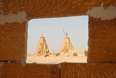 Temples Through a Wall, Jaisalmer, Rajasthan, India Captured April 12, 2006.