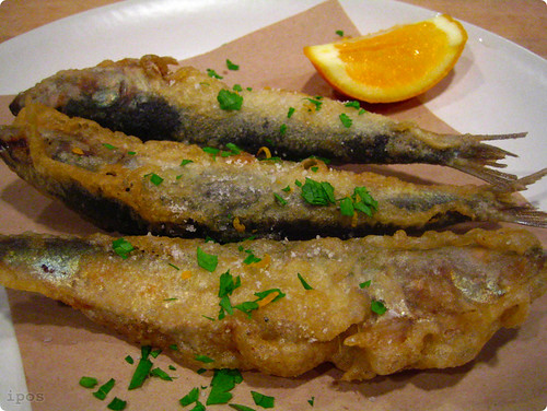 Fried sardines with Meyer lemon gremolata
