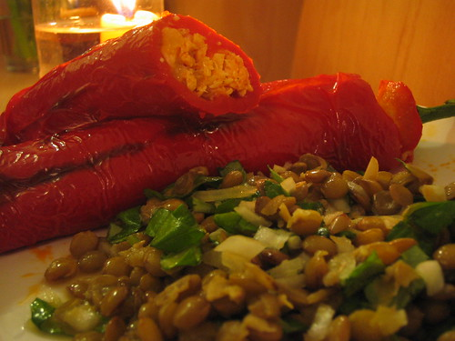 stuffed pepper and lentil salad