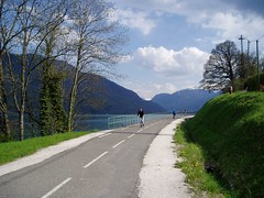 Bike path around Lake Annecy