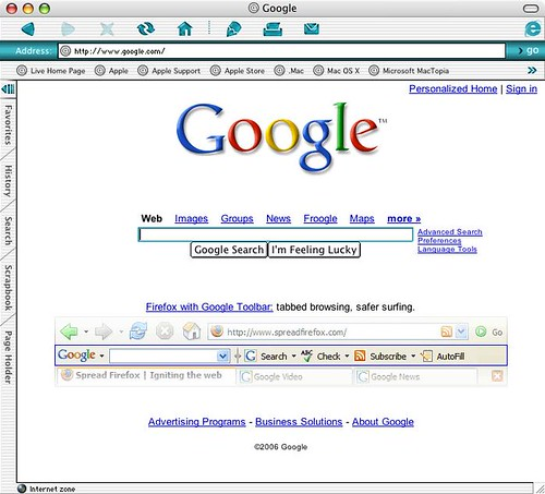 Mozilla Firefox on Google Homepage
