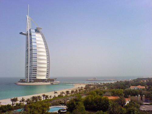 Burj Al-Arab - Dubai: the view out of my room at Mina Al-Salam hotel in Madinat Jumairah